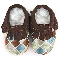 AUGUSTA BABY Soft Sole Fringed Toddler Shoes - Blue Diamond - 6-6.5 M US Toddler