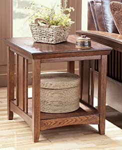 """DarkOak Stain Rectangular End Table by """"Famous Brand"""" Furniture"""