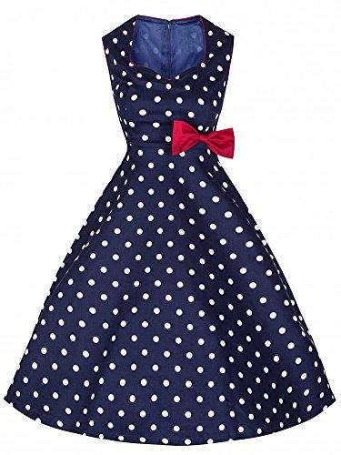 LUNAJANY Women's 50s Retro Sweetheart Neckline Red Bow Polka Dot Swing Dress small