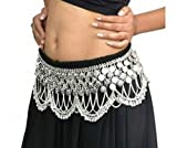 Dancers World HEAVY Silver Toned Metal Tribal Jingly Belly Dance Dancing Costume Hip Coin Belt