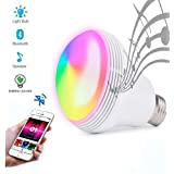 Huamai Bluetooth Speaker Bulb, 2nd Generation LED Light Bulb with Bluetooth Speaker, 8W E26 Dimmable RGB+White Color Smart Music LED Bulb Light (Color: RGB+W)