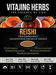 Organic Red Reishi Mushroom Extract Powder (8oz / 227gm) 20:1 Concentration (Ganoderma Lucidum, Lingzhi) Pure Wildcrafted, Certified Organic, Vegan, Non-gmo, Gluten-free