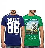 Yo Republic Mens Cotton Tshirt Combo Offer (Pack of 2)(AT-0065-XXL_Blue_Green_XX-Large)