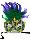 Festive Green, Purple and Gold Mardi Gras Mask with Feathers