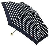 【晴雨兼用】 折りたたみ傘 コンパクトジッパーケース付 ハート刺繍ボーダー ミニ (tiny) 50cm ネイビー 302-125