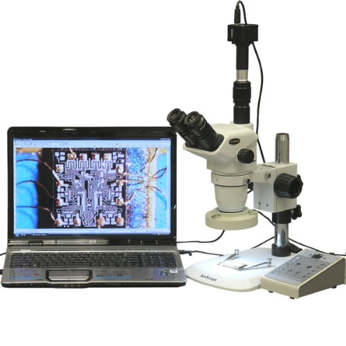 Amscope Zm-1Tnw2-80Am-8M Digital Professional Trinocular Stereo Zoom Microscope, Ew10X And Ew25X Focusing Eyepieces, 3.35X-225X Magnification, 0.67X-4.5X Zoom Objective, Eight-Zone Led Ring Light, Large Pillar-Style Table Stand, 110V-240V, Includes 0.5X A