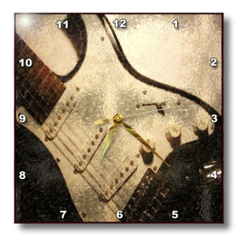 3Drose Dpp_60674_1 Old Electric Guitar In Abstract-Wall Clock, 10 By 10-Inch