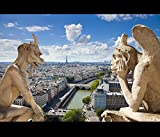 Paris Skyline Modern Canvas Wall Art Notre Dame Cathedral Prints On Canvas