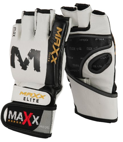 Grappling Gloves MMA UFC Boxing Cage Punch Bag NHB BJJ white/gold-MEDIUM