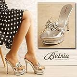 【BELSIA】煌めく宝石ビジューでGorgeous感なサンドソール姫ヒールサンダル-silver(S/M/L)*sh88813-SV