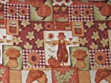 Scarecrows Sunflowers Pumpkins Fall Leaves Autumn Patchwork Fabric Printed Tablecloth (54x72 Inch Oblong)