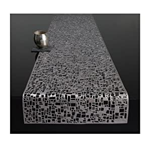 "Price Pressed Cubic Placemat Size: 14"" W x 72"" D, Color: Gunmetal"