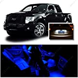 Ameritree Ford F150 2009-2014 (9 Pcs) Blue LED Lights Interior Package and White LED License Plate Kit