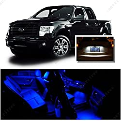 See Ameritree Ford F150 2009-2014 (9 Pcs) Blue LED Lights Interior Package and White LED License Plate Kit Details