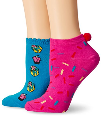 Betsey-Johnson-Womens-Cake-Dreams-with-Pom-Pom-No-Show-2-Pack-Socks