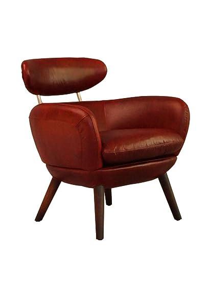 Designsessel Swinford Vintage Leder Royal Rouge Echtleder Sessel rot
