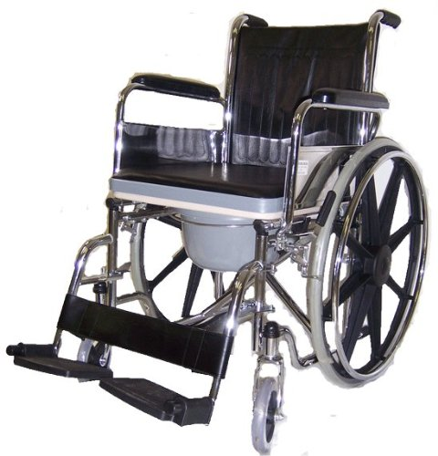 MedMobile All-In-One Chrome Steel Shower / Commode Wheelchair with Flip-up Armrests, Detachable Footrest, Plastic Commode Seat. (Handicap Shower Wheelchair compare prices)