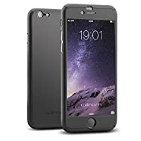 Willnorn Full Body Coverage Protection Case with Tempered Glass Screen Protector for iPhone 6 - Black