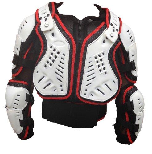 Adulto Motocross Giacca Enduro Off-Road Pettorina Corazza Moto Scooter armatura MX Protezioni Rosso / Bianco (3XL)