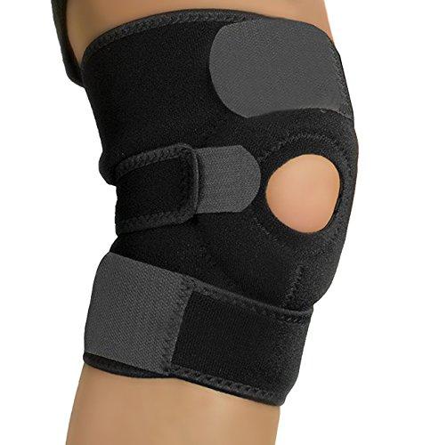Amotus professionale neoprene ginocchiera completamente regolabile Protector traspirante Aperto Patella ginocchio per sollievo dal dolore da menisco, artrite e ACL, Colore Nero