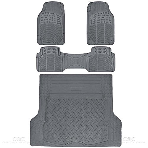 ProLiner Gray All Weather Rubber Auto Floor Mats & Cargo Liner - Heavy Duty 4pc Set (Cargo Liners For Honda Accord compare prices)