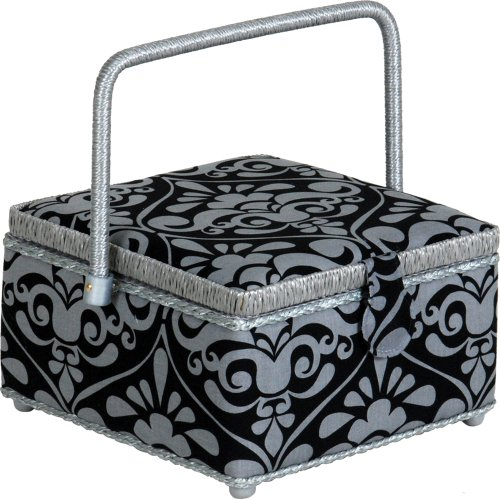 Read About Prym Consumer USA Square Sewing Basket Square, Silver And Black