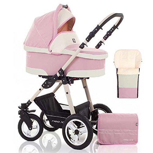 2 in 1 Kinderwagen Neo X3 - Kinderwagen + Sportwagen + Fußsack + GRATIS ZUBEHÖR in Farbe Pink-Creme