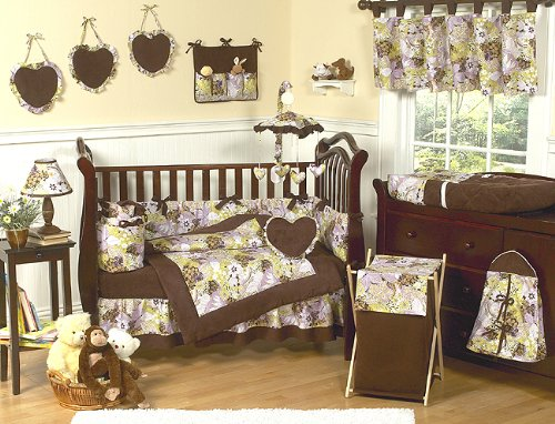 JoJo Designs 9-Piece Baby Crib Bedding Set - Julianna Purple, Green and Chocolate