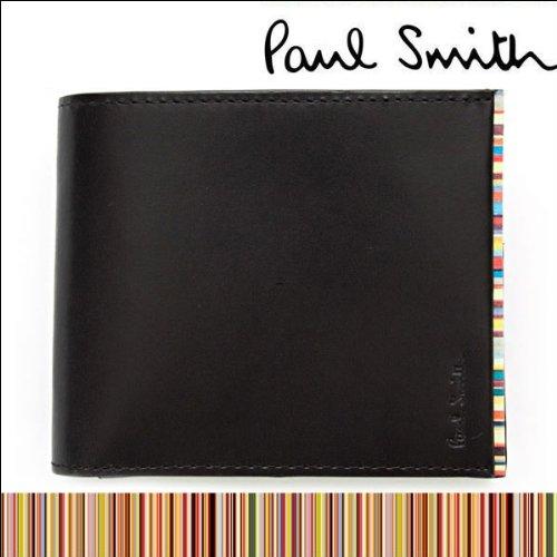 ポールスミス(Paul Smith)2つ折り財布 ブラック×マルチストライプ PSU055-990 牛革