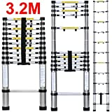 CDC® TELESCOPIC FOLDABLE 3.2M & STABILIZER ALUMINIUM FOLDABLE EXTENDABLE MULTI PURPOSE LADDER EN-131