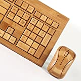 Impecca KBB-600CW Hand-Carved Designer Bamboo Wireless Keyboard and Mouse Combo