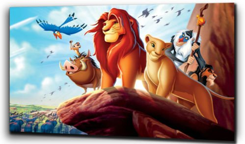 "Stampe su tela simipour, motivo Disney ""il Re Leone"", Simba, nero/bianco, 20"" x 24"""