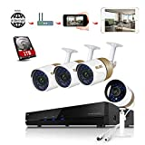 ELEC AHD 720P 8CH DVR Video Surveillance Security Camera System Pre-Installed 1TB Hard Drive, 2000TVL 1.3MP 4 CCTV Weatherproof 60ft Night Vision Bullet Cameras Remote Access