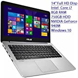 "2016 Asus 14"" Flagship Premium Ultra Slim Full HD Laptop, Intel Core I7-5500U 2.4GHz, 8GB RAM, 750GB HDD, NVIDIA..."