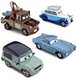 Disney / Pixar CARS 2 Movie Exclusive 148 Die Cast Car 4Pack Save the Queen Finn McMissile, Queen, Mater Miles Axelrod