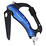 Multitool Knife - Updated Carabiner Keychain Clip Camping Survival Gear Includes Flashlight, Knife, Screwdriver, Glass Breaker and Bottle Opener for Backpack, Hammock Straps, Hiking and More