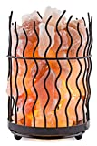 Crystal Decor® Natural Himalayan Salt Metal Basket Lamp with Dimmable Cord