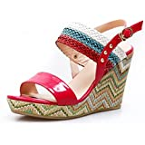 AmoonyFashion Womens Open Toe High Heel Wedge Cow Leather Soft Material Assorted Colors Sandals with Buckle