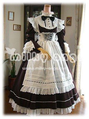 (ミルキーアンジェ) milky ange クラシック バッスル付き パーラー メイド シモーヌ ダークブラウン XL ロング メイド服