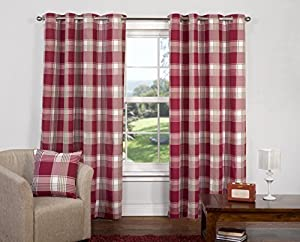 """Red Paisley Scottish Lined Ring Top Tartan Plaid Checked Curtains 66"""" X 90"""" from PCJ Supplies"""