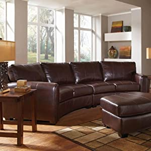 Amazoncom cornell bonded leather curved sofa sectional for Curved sectional sofa amazon