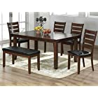 6pc Cherry Finish Solid Wood Dining Set