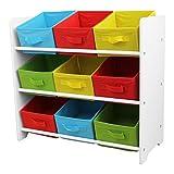 Aufbewahrungsregal mit 3 Ebenen und 9 Schubfächern 65x30x60cm Kinderregal Spielzeugregal