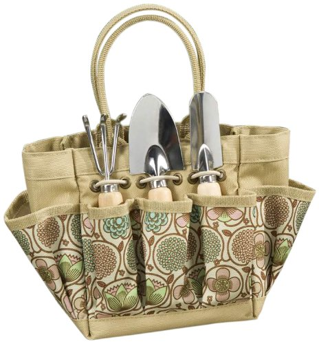 Gift Craft Patio Garden Tool Set with Canvas Tool Bag