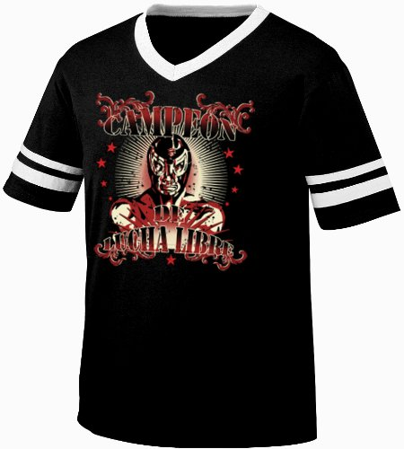 Campeon De Lucha Libre Mens Ringer Tattoo Style T-Shirt, Old School Mexican Wrestling Design V-Neck Shirt, Large, Black/White