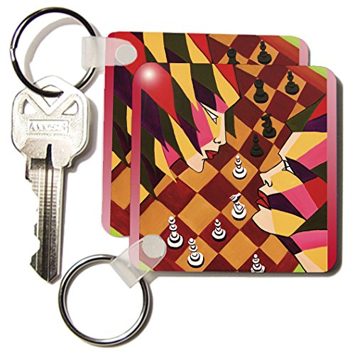 Yelena Rubin Painting Gestural Abstract - Anybody as chess players can appreciate Competition not just about the board game but game of life - Key Chains - set of 2 Key Chains (kc_54896_1)
