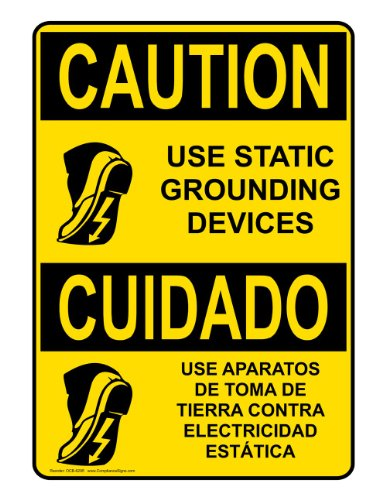 Compliancesigns Aluminum Osha Caution Sign, 14 X 10 In. With Esd / Static Info In English + Spanish, Yellow