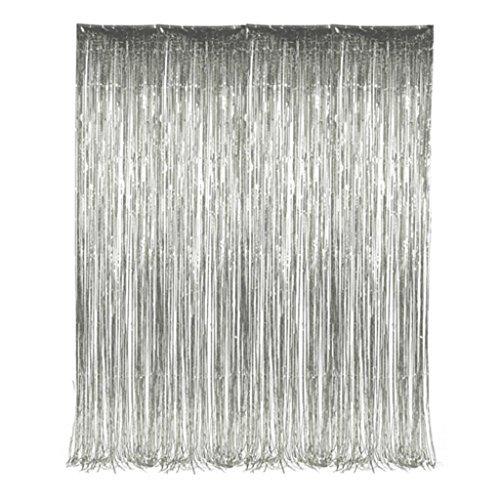 Silver Foil Tinsel Fringe Curtain 3 feet x 8 feet (2 per order)