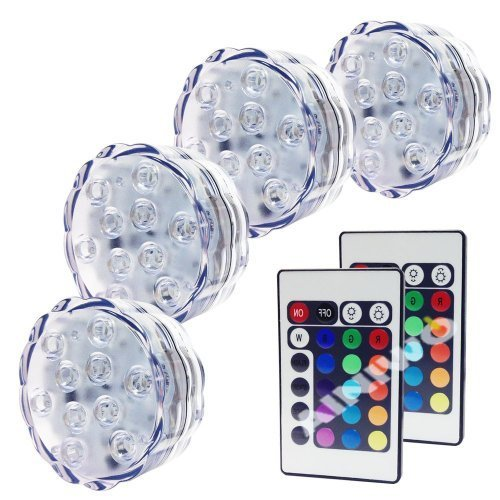 Ainiwo 4X Led Submersible Lights - Battery Powered Led Accent Lights Ir Remotes For Wedding, Centerpiece, Halloween, Party Lights