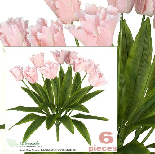 "Six 24"" Artificial Parrot Tulip Flower Bushes in Pink for Home,Garden, Wedding Decoration"